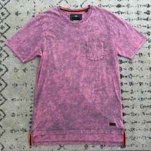 SuperDry Men's Hoxton Wash Long Pink Blend T Shirt